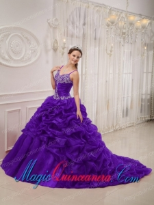 Dark Purple Spaghetti Straps Court Train Organza Beading Perfect Quinceanera Dresses