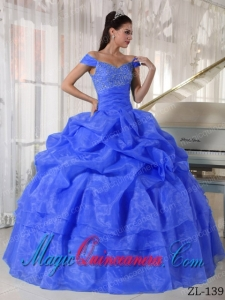 Exquisive Blue Ball Gown Off The Shoulder Floor-length Taffeta and Organza Beading Sweet 16 Dresses