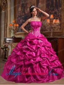 Fuchsia Ball Gown Strapless Appliques Taffeta Perfect Quinceanera Dresses