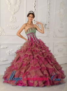 Fuchsia Ball Gown Strapless Floor-length Organza Beading and Appliques New style Quinceanera Dress