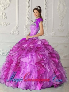 Fuchsia Ball Gown Strapless Floor-length Satin and Organza Beading New style Quinceanera Dress