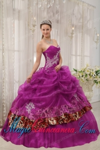 Fuchsia Ball Gown Sweetheart Floor-length Organza and Zebra or Leopard Appliques New style Quinceanera Dress