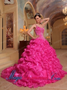 Hot Pink Ball Gown Spaghetti Straps Floor-length Organza Embroidery New style Quinceanera Dress