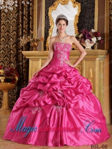 Hot Pink Ball Gown Strapless Floor-length Pick-ups Taffeta Pretty Quinceanera Dress
