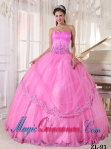Hot Pink Ball Gown Sweetheart Floor-length Taffeta and Tulle Appliques Cute Sweet 16 Gowns
