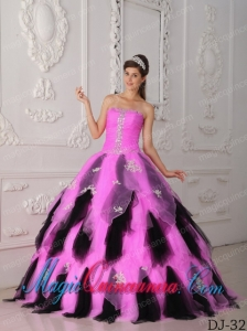 Hot Pink and Black A-Line Strapless Organza Appliques Pretty Quinceanera Dress