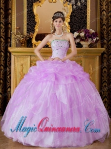 Lavender Ball Gown Strapless Floor-length Organza Beading New style Quinceanera Dress