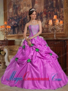 Lavender Ball Gown Strapless With Taffeta Beading and 3D Flower Perfect Quinceanera Dresses
