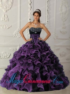 Lavender Ball Gown Sweetheart Floor-length Organza Beading New style Quinceanera Dress