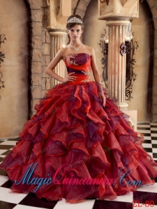Multi-color Ball Gown Strapless Floor-length Organza Ruffles New style Quinceanera Dress