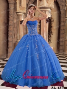 Organza Beading Blue Ball Gown Floor-length Pretty Quinceanera Dress