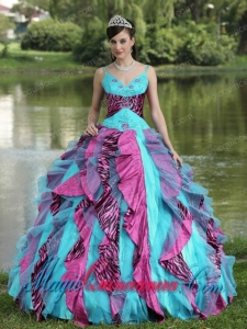 Organza Straps Beading For 2013 Colorful New style Quinceanera Dress