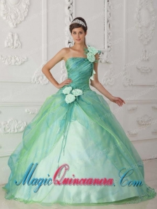 Perfect Quinceanera Dresses In Apple Green Ball Gown One Shoulder With Organza Beading and Hand Flower