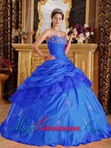 Perfect Quinceanera Dresses In Blue Sweetheart Floor-length Taffeta Beading
