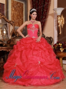 Perfect Quinceanera Dresses In Coral Red Ball Gown Sweetheart Organza Beading