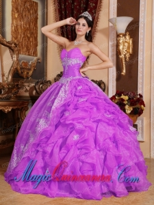 Perfect Quinceanera Dresses In Fuchsia Ball Gown Sweetheart Floor-length Organza Beading