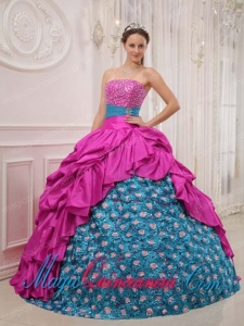 Perfect Quinceanera Dresses In Hot Pink and Blue Ball Gown Strapless Beading