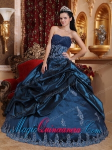 Perfect Quinceanera Dresses In Navy Blue Ball Gown Sweetheart With Taffeta Appliques