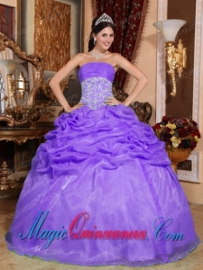 Perfect Quinceanera Dresses In Purple Ball Gown Strapless Organza Appliques