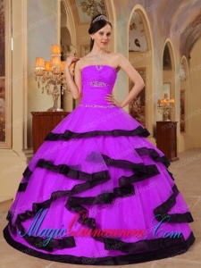 Purple and Black Strapless Floor-length Organza Appliques New style Quinceanera Dress