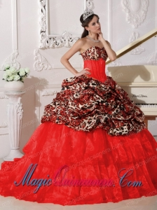 Red Ball Gown Sweetheart Sweep / Brush Train Appliques Perfect Quinceanera Dresses