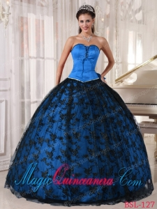 Sweetheart Blue and Black Floor-length Tulle and Taffeta Lace Romantic Sweet 15 Gowns