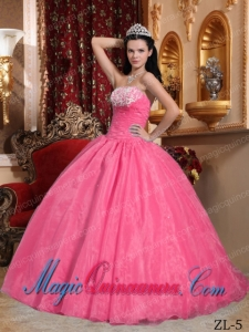 Watermelon Ball Gown Strapless Organza Appliques Perfect Quinceanera Dresses