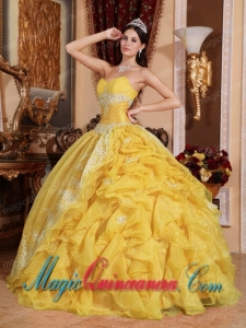 Yellow Ball Gown Sweetheart Floor-length Organza Beading New style Quinceanera Dress