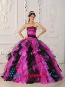 Appliques and Ruffles Multi-color Ball Gown Strapless Organza Pretty Quinceanera Dress