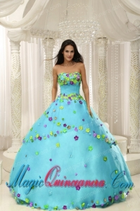 Baby Blue Ball Gown 2013 Perfect Quinceanera Dresses For Custom Made Appliques Decorate Bodice
