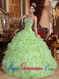 Ball Gown Sweetheart Organza Beading and Ruffles Pretty Quinceanera Dress in Yellow Green