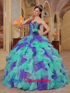 Ball Gown Sweetheart Ruffles Organza Pretty Quinceanera Dress in Colorful