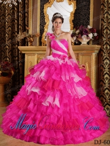 Colourful One Shoulder Ruffles and Beading Sweet 15 Quinceanera Dresses