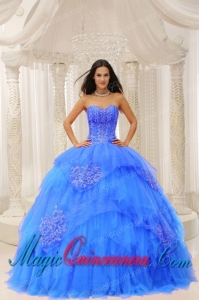 Custom Made Aqua Blue Sweetheart Embroidery For Perfect Quinceanera Dresses Wear In 2013