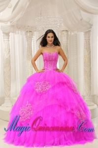 Custom Made Fuchsia Sweetheart Embroidery New style Quinceanera Dress