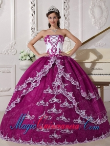 Fuchsia and White Ball Gown Strapless Floor-length Organza Appliques Inexpensive Sweet 15 Dresses