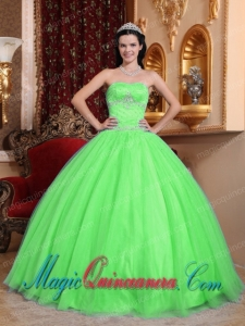 Green Ball Gown Sweetheart With Tulle and Taffeta Beading Perfect Quinceanera Dresses