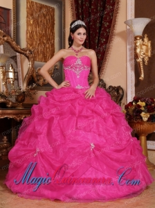 Hot Pink Ball Gown Cheap Sweetheart Floor-length Organza Beading Sweet 15 Dresses