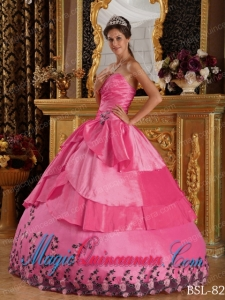 Hot Pink Ball Gown Sweetheart With Taffeta Appliques Sweet 15 Quinceanera Dresses