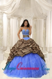 Leopard and Organza Beading Decorate Sweetheart Neckline Perfect Quinceanera Dresses