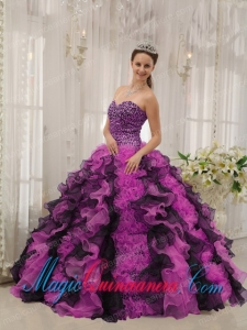 Multi-colored Ball Gown Sweetheart Floor-length Organza Beading Pretty Quinceanera Dress