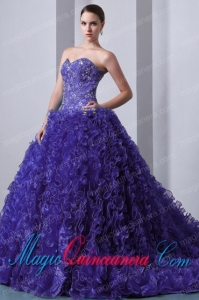 Purple A-Line / Princess Sweetheart Brush Train With Beading and Ruffles Perfect Quinceanera Dresses
