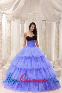 Purple Sweetheart Beaded and Layers Ball Gown Perfect Quinceanera Dresses Taffeta and Organza