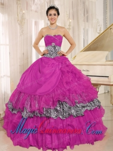 Wholesale Hot Pink Sweetheart Ruffles Perfect Quinceanera Dresses With Zebra and Beading