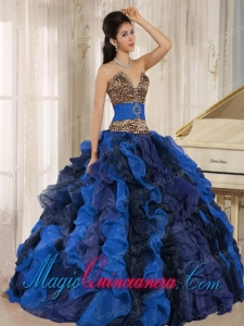 Wholesale Multi-color 2013 Perfect Quinceanera Dresses V-neck Ruffles With Leopard and Beading