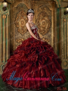 Wine Red Ball Gown Strapless Floor-length Organza Ruffles Spring Quinceanera Dress