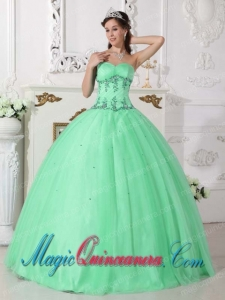 Apple Green Ball Gown Sweetheart Floor-length Tulle and Taffeta Beading Spring Quinceanera Dress