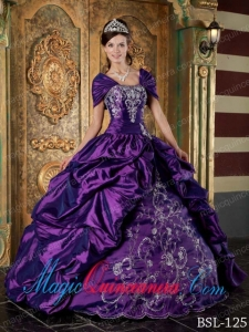 Eggplant Purple Ball Gown Strapless Floor-length Taffeta Embroidery Spring Quinceanera Dress