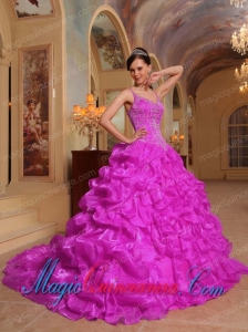 Fuchsia Ball Gown Spaghetti Straps Floor-length Organza Embroidery Spring Quinceanera Dress