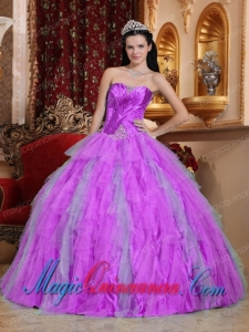 Fuchsia Ball Gown Sweetheart Floor-length Tulle Beading Spring Quinceanera Dress